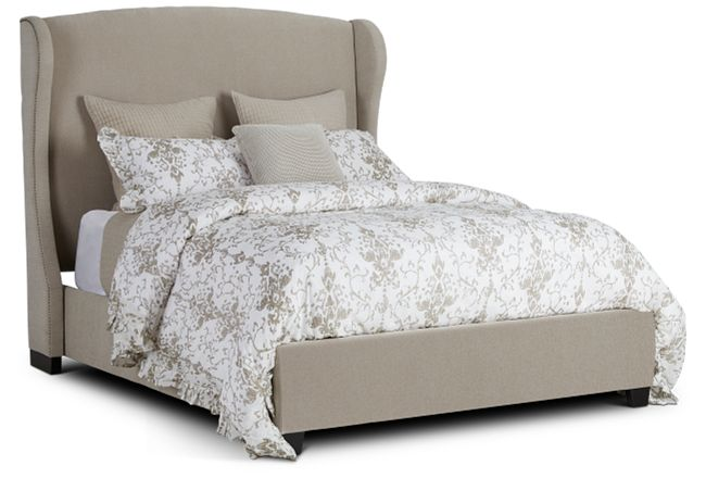Cora Taupe Uph Platform Bed