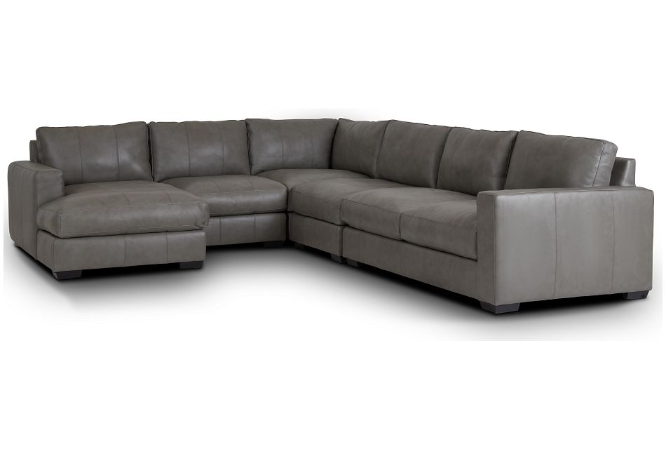 Dawkins Gray Leather Large Left Chaise Sectional,  (0)