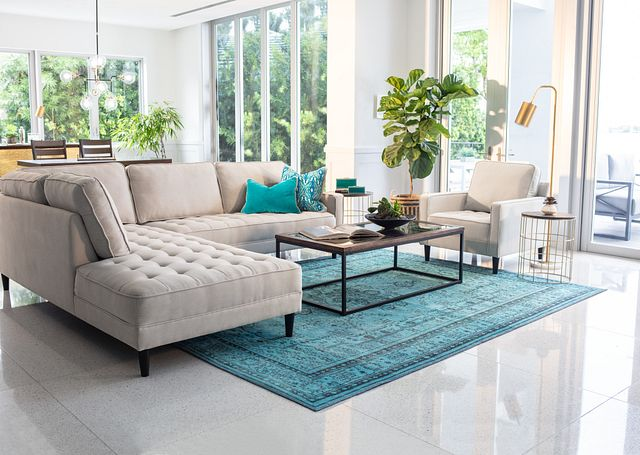 Eli Taupe Micro Left Chaise Sectional (1)