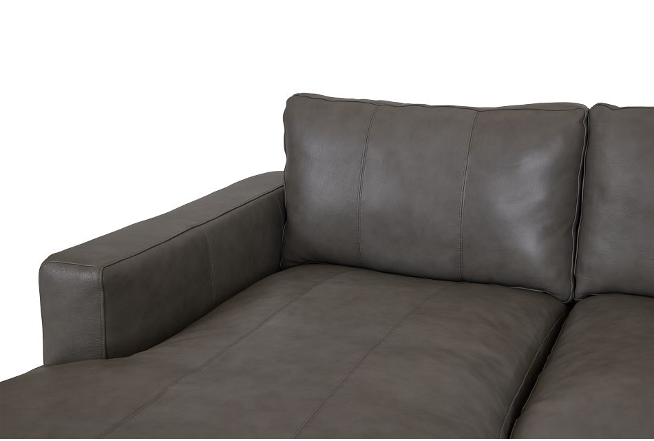 Dawkins Gray Leather Large Left Chaise Sectional