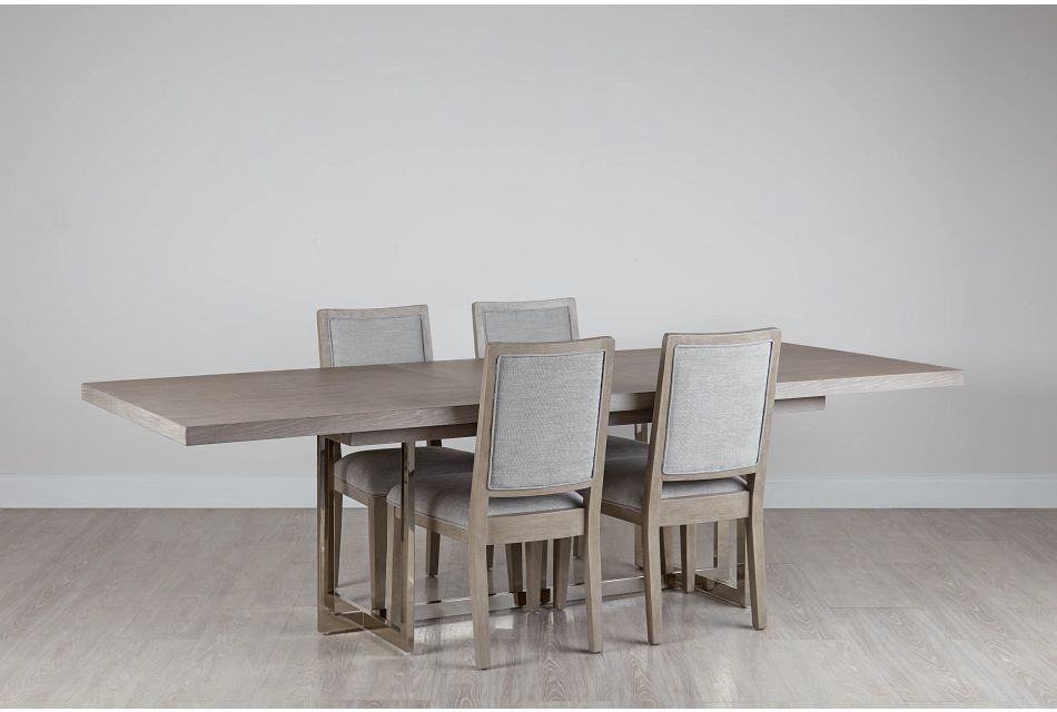 Tribeca Light Tone Trestle Table & 4 Wood Chairs