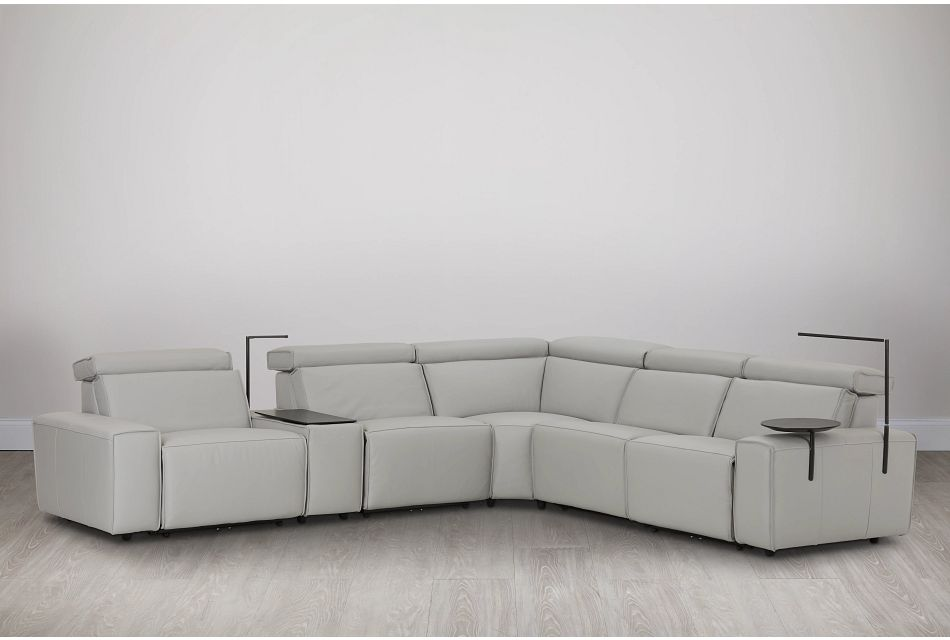 Carmelo Gray Leather Medium Dual Power Sectional W/right Table & Light