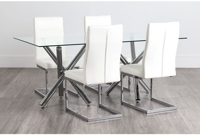 Quincy Glass White Table & 4 Upholstered Chairs