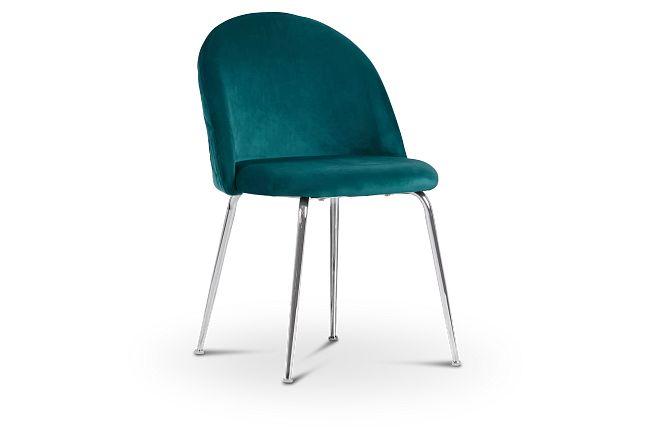 Capri Dark Teal Upholstered Side Chair W/ Chrome Legs