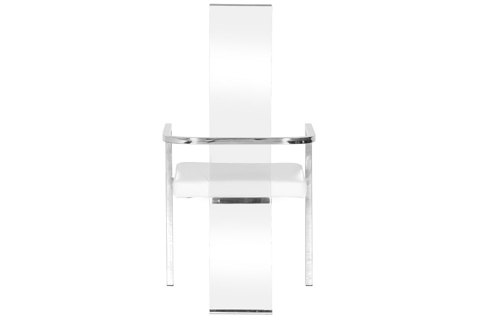 State Street White Acrylic Upholstered Arm Chair