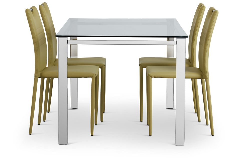 Skyline Light Green Rect Table & 4 Upholstered Chairs