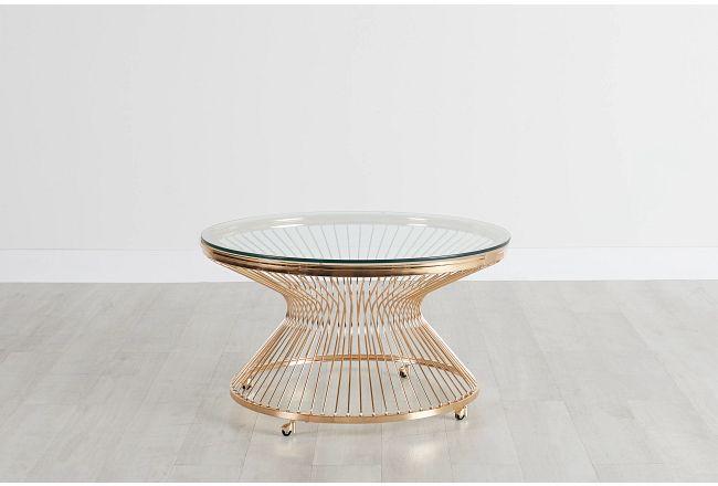 Munich Gold Glass Round Coffee Table