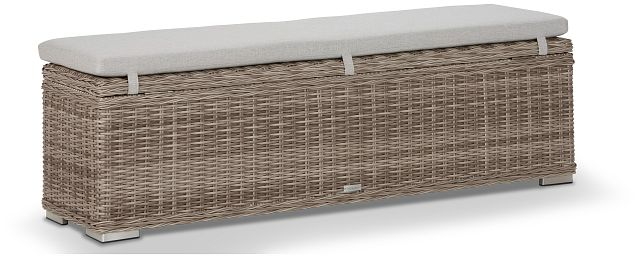 Raleigh Gray Woven Dining Bench