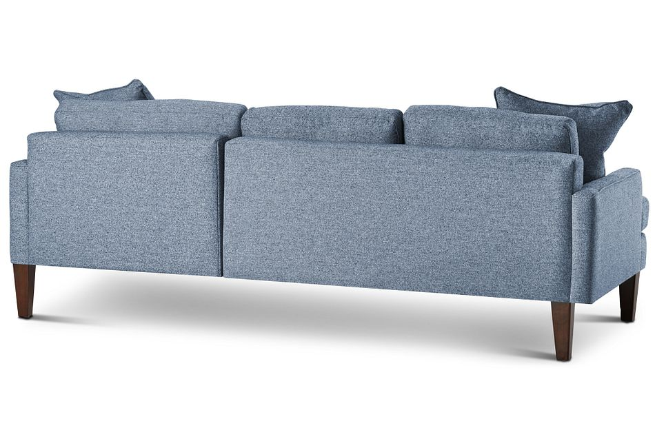 Morgan Blue Fabric Small Right Chaise Sectional W/ Wood Legs