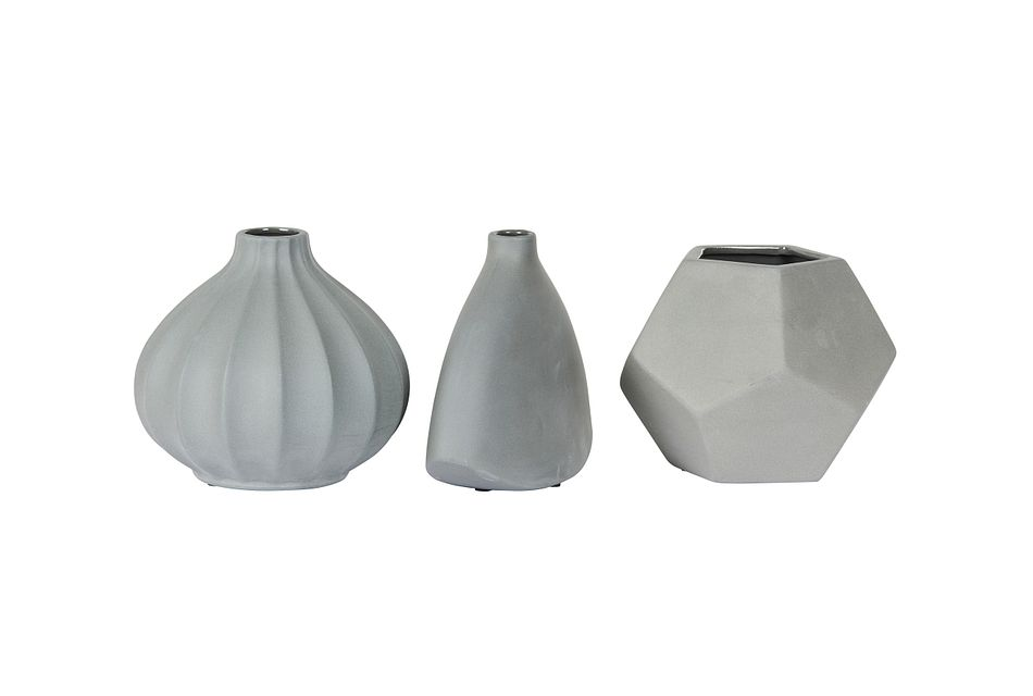 Lotus Dark Gray Ceramic Vase