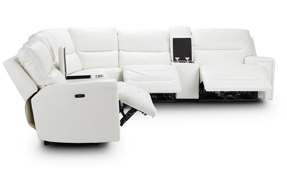 Porto White Lthr/vinyl Large Triple Power Sectional,  (2)