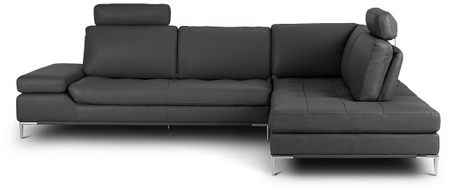 Camden Dark Gray Micro Right Chaise Sectional With Removable Headrest (3)