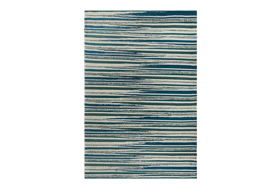 Cizin Dark Teal Wool Blend 8x10 Area Rug