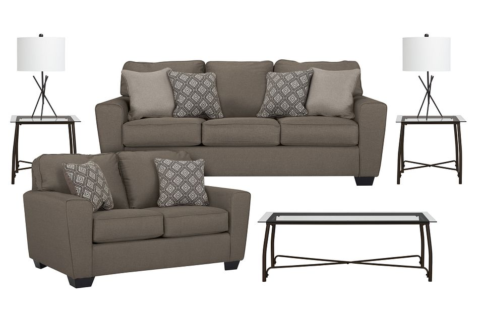 Calicho Dark Taupe  MICRO 7-Piece Living Room Package