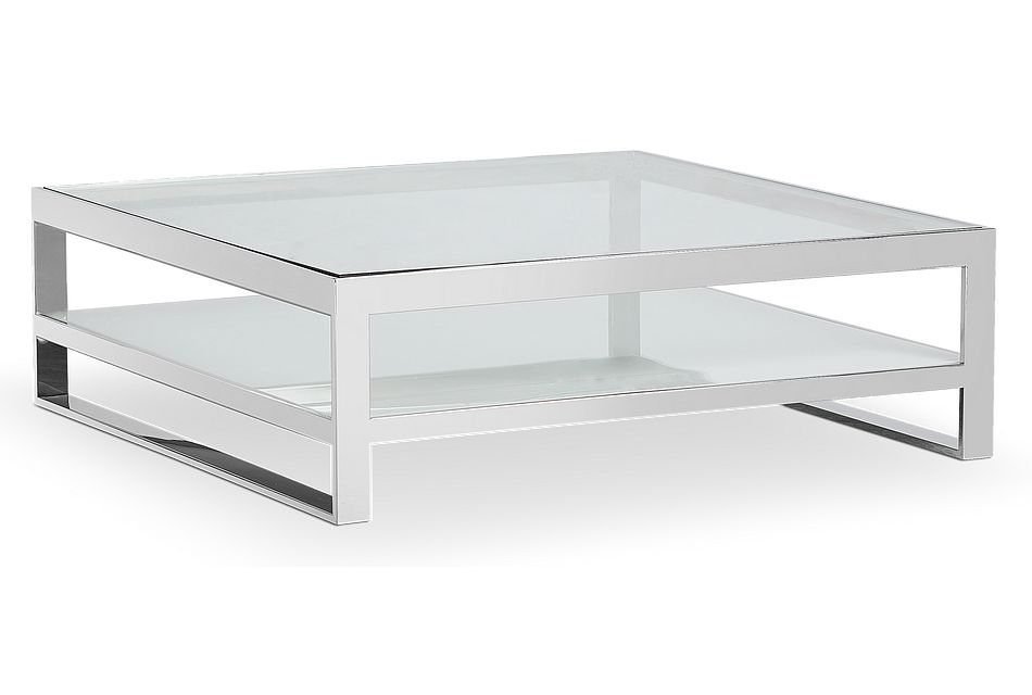 Miami White Gl Square Coffee Table