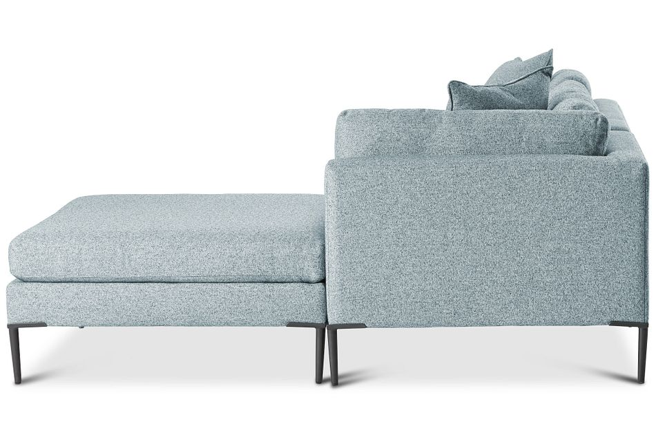 Morgan TEAL FABRIC Small Right Bumper Sectional w/ Metal Legs,  (1)