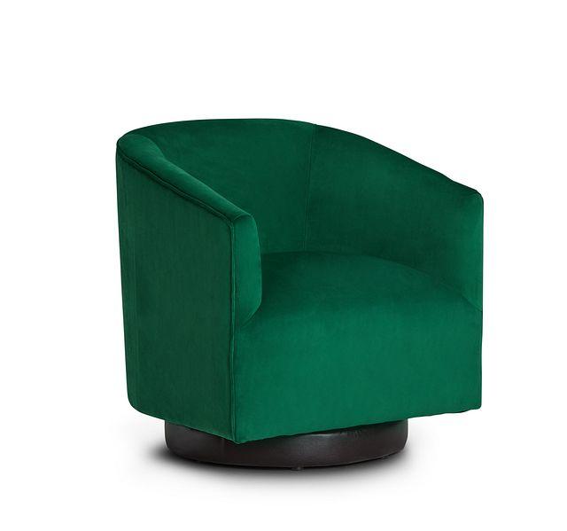 Charlotte Dark Green Velvet Swivel Accent Chair (1)