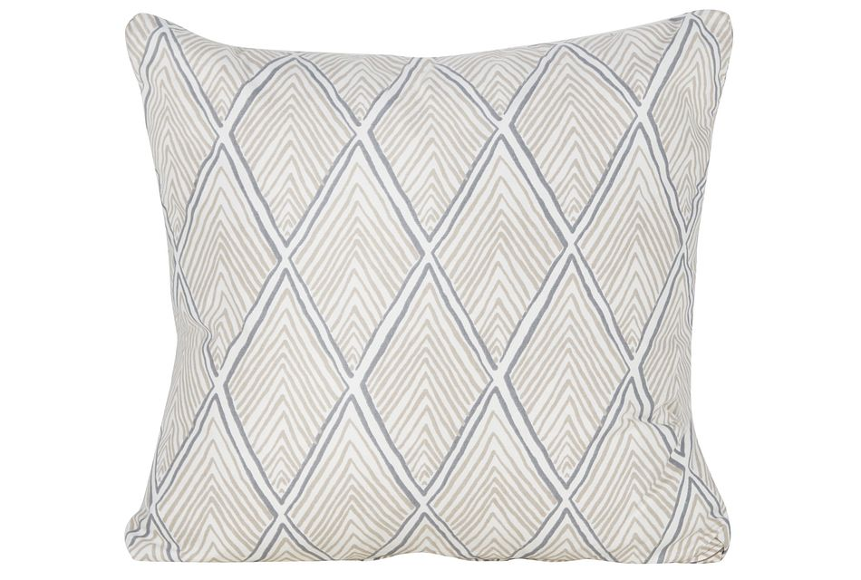 Rhombi Light Beige Fabric Square Accent Pillow