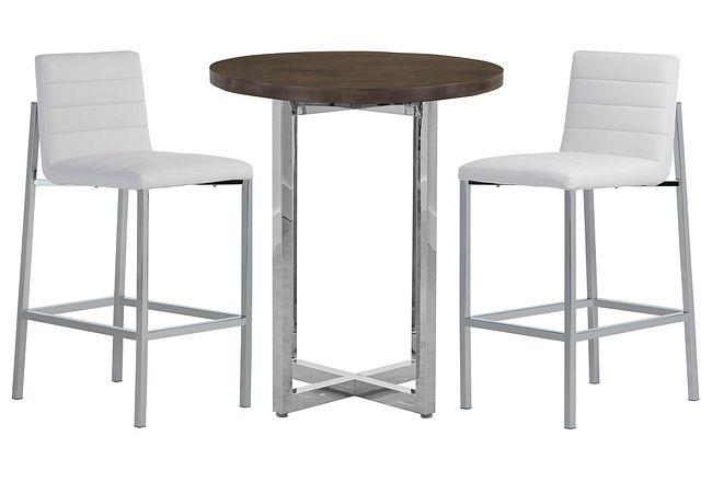Amalfi White Wood Pub Table & 2 Upholstered Barstools