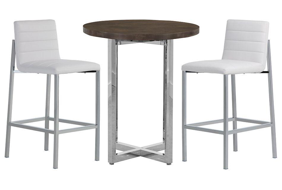 Amalfi WHITE WOOD Pub Table & 2 Upholstered Barstools,  (0)