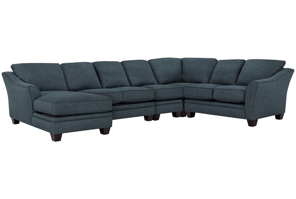 Avery Dark Blue Fabric Large Left Chaise Sectional