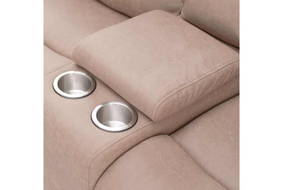 Calvin Taupe Micro Power Reclining Console Loveseat