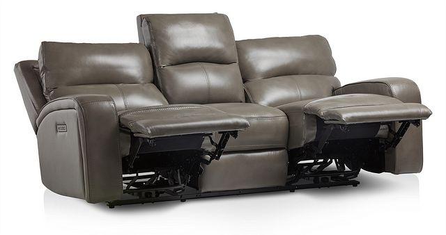 Declan Dark Gray Lthr/vinyl Power Reclining Sofa (2)