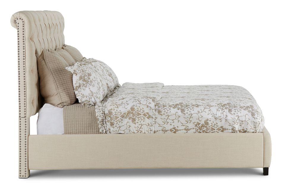 Durham Beige Uph Platform Bed