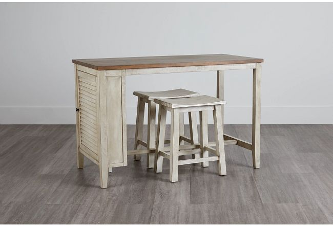 "Chesapeake Two-tone 36"" High Table & 2 Barstools"