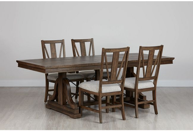 Heron Cove Mid Tone Trestle Rectangular Table & 4 Upholstered Chairs