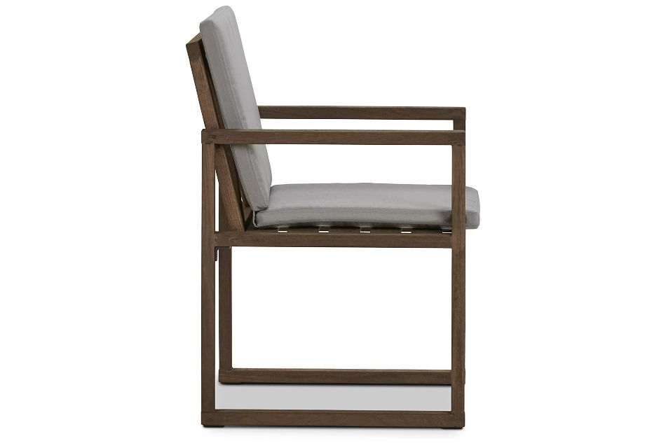 Linear Teak Dk Gray Arm Chair