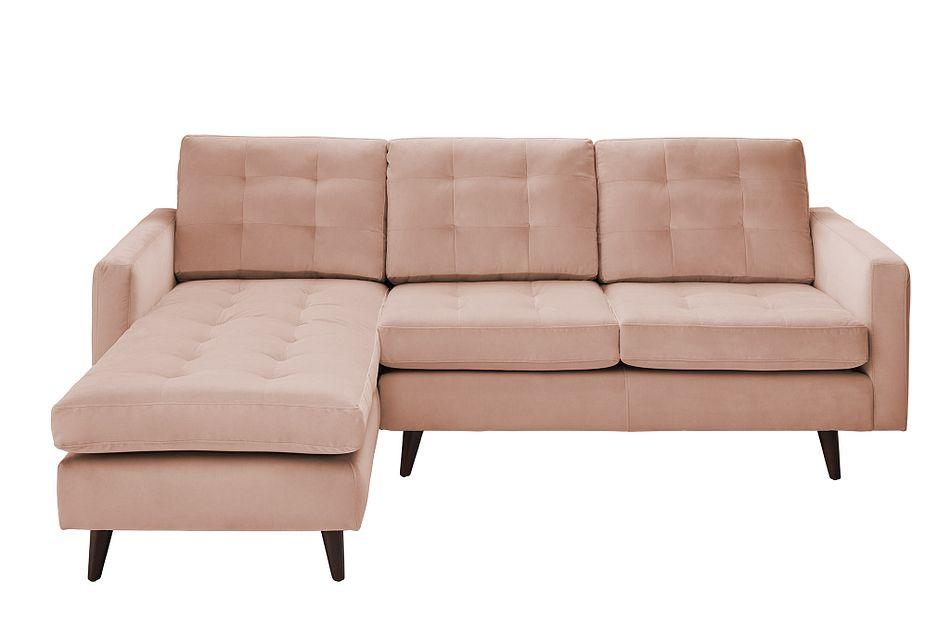 Mila Light Pink  VELVET Left Chaise Sectional