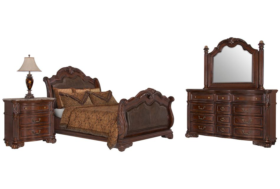 Regal Dark Tone Leather Sleigh Bedroom