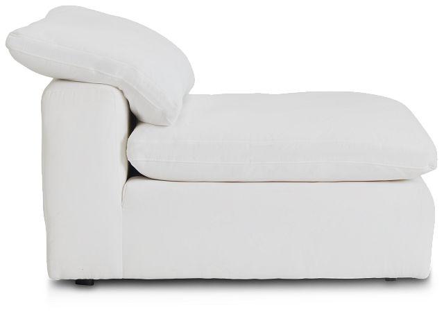 Nixon White Fabric Armless Chair (3)