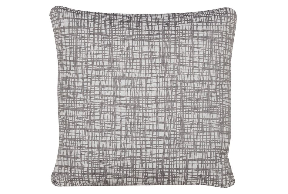Hugo Gray Fabric Square Accent Pillow