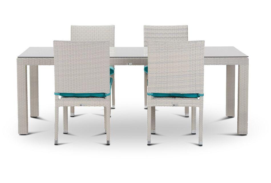 "Bahia Dark Teal 84"" Rectangular Table & 4 Upholstered Chairs"