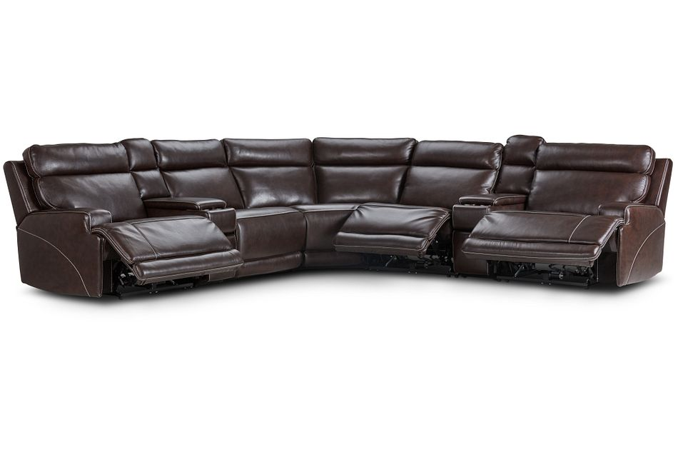 Valor Dark Brown Leather Large Triple Power Reclining Two-arm Sectional