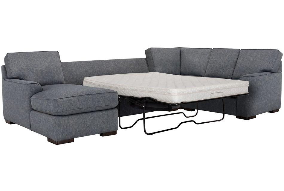 Austin Blue Fabric Left Chaise Innerspring Sleeper Sectional