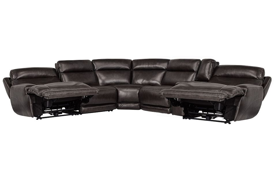 Gable Pewter Leather Small Two-arm Power Reclining Sectional