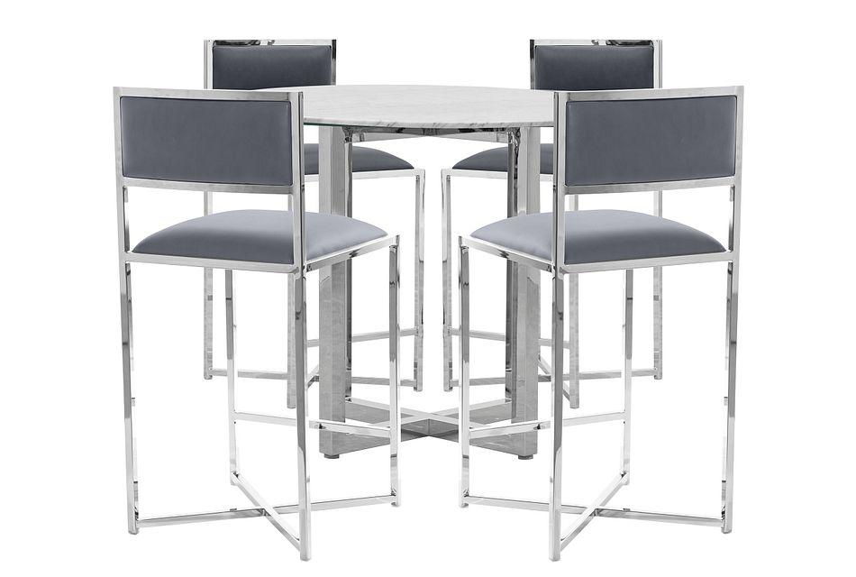 Amalfi Gray Marble High Table & 4 Metal Barstools