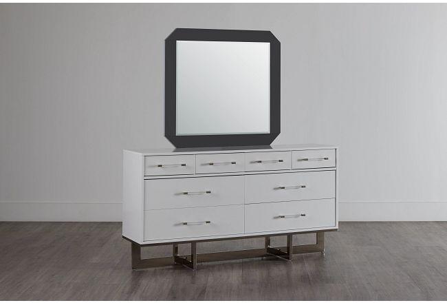 Cortina White Dresser & Mirror