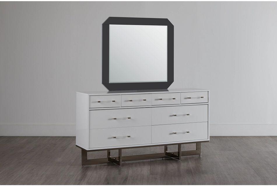 Cortina White Dresser & Mirror,  (0)
