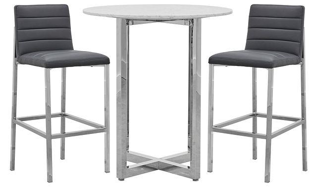 Amalfi Gray Marble Pub Table & 2 Upholstered Barstools (0)