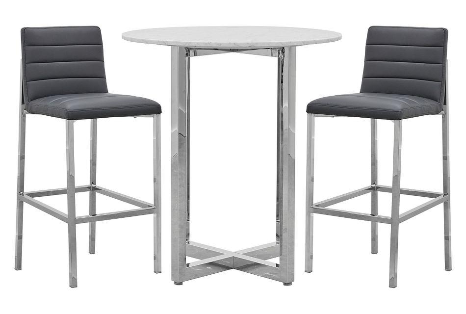 Amalfi Gray Marble Pub Table & 2 Upholstered Barstools