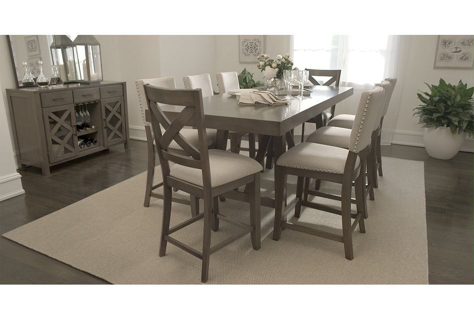 Omaha GRAY  High Table & 4 Upholstered Barstools