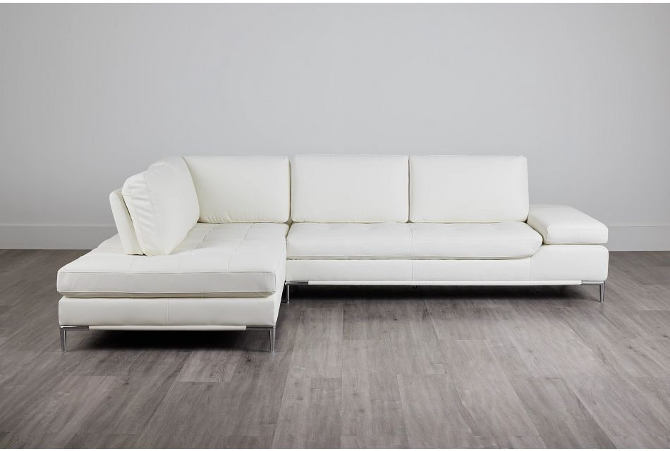 Camden White Micro Left Chaise Sectional