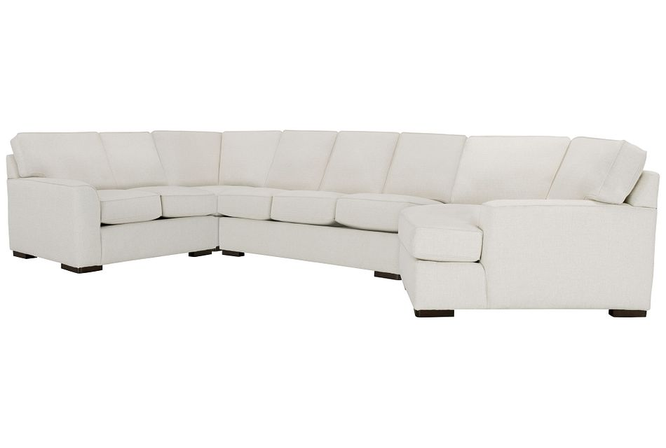 Austin White Fabric Right Cuddler Memory Foam Sleeper Sectional