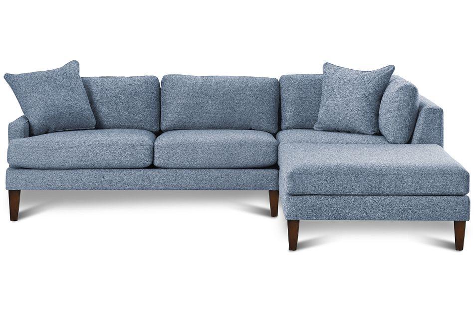 Morgan Blue Fabric Right Bumper Sectional W/ Wood Legs