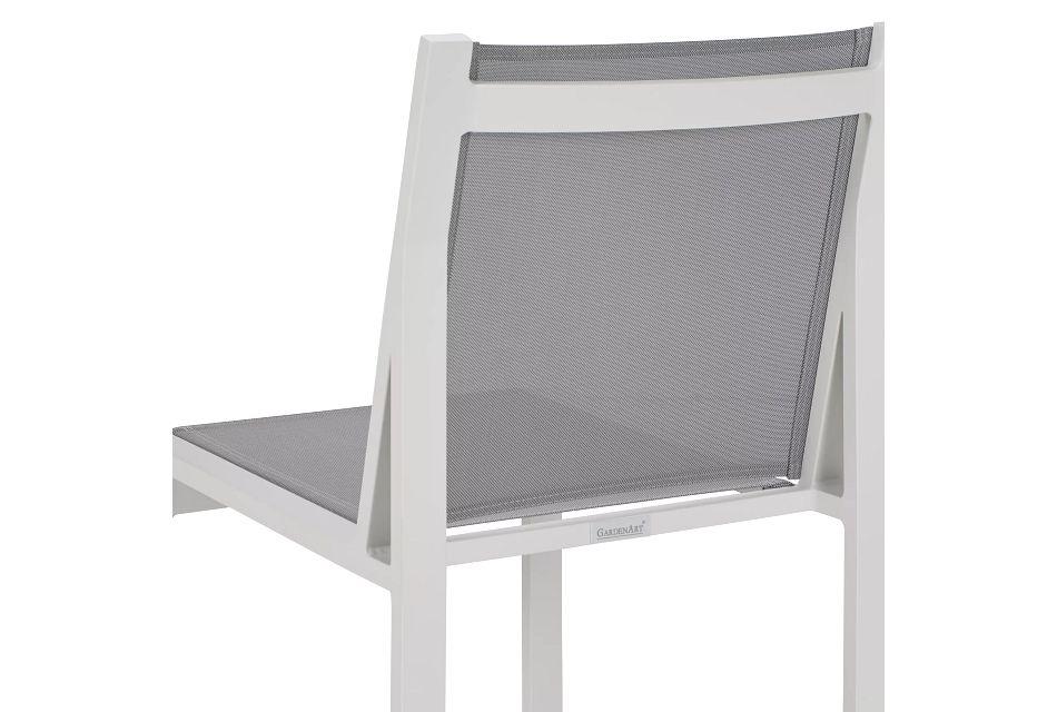 Linear White Aluminum Sling Chair