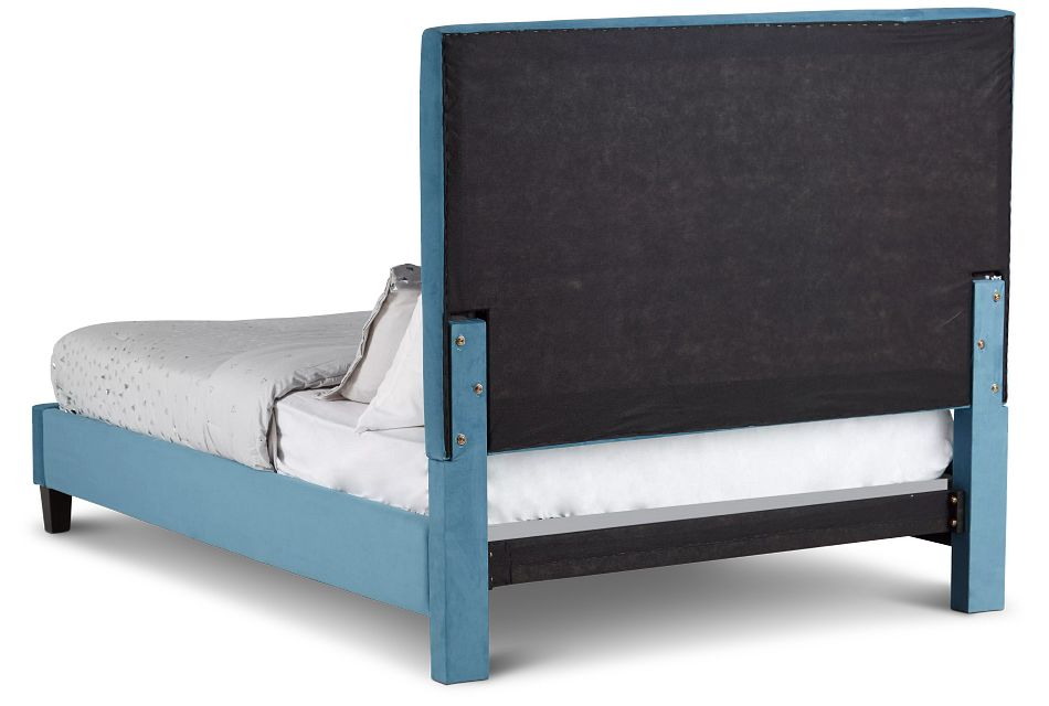 Collin Blue Velvet Platform Bed
